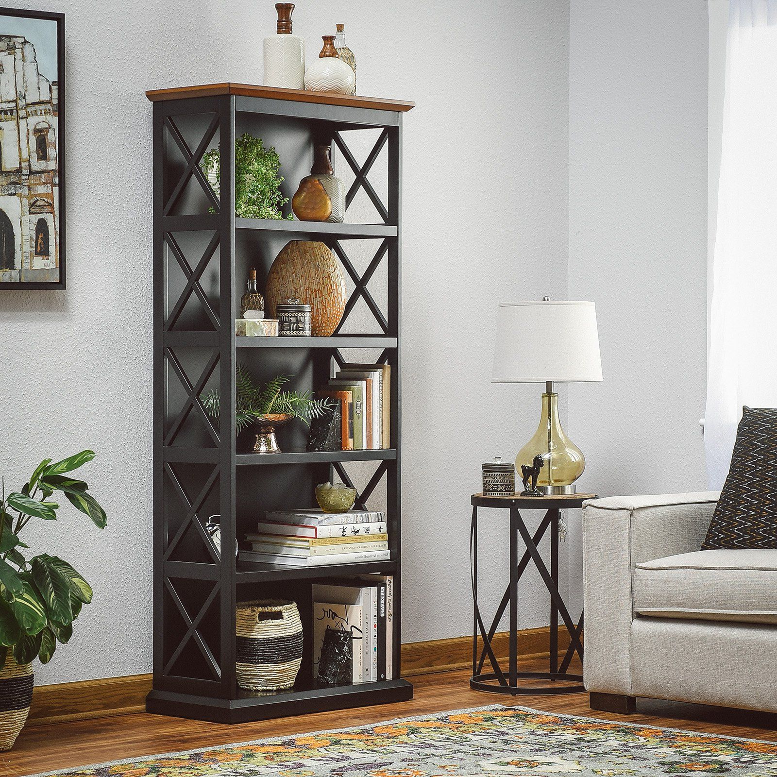 Morrell Standard Bookcases Regarding Most Up To Date Belham Living Hampton 5 Tier Bookcase – Black/oak In  (View 10 of 20)