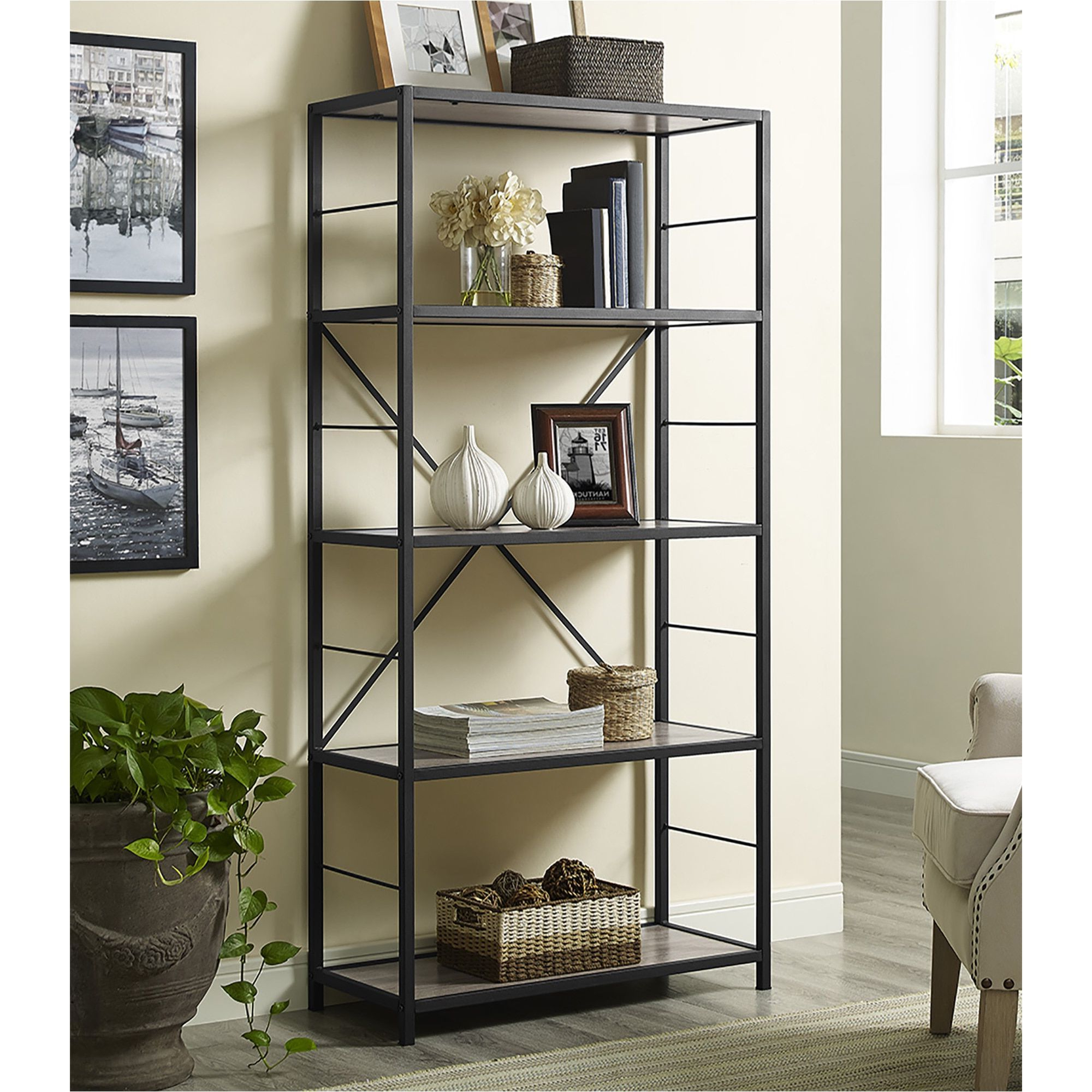 """Most Current 60"""" Rustic Metal And Wood Media Bookshelf – Driftwood (60 Intended For Moskowitz Ladder Bookcases (View 11 of 20)"""