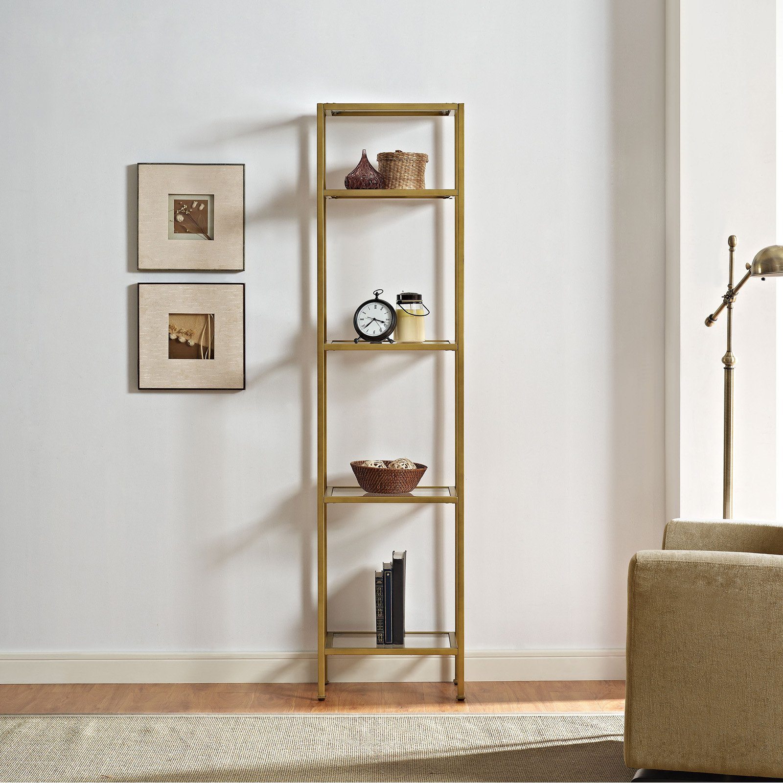 Most Current Aimee Narrow Etagere, Gold In  (View 14 of 20)