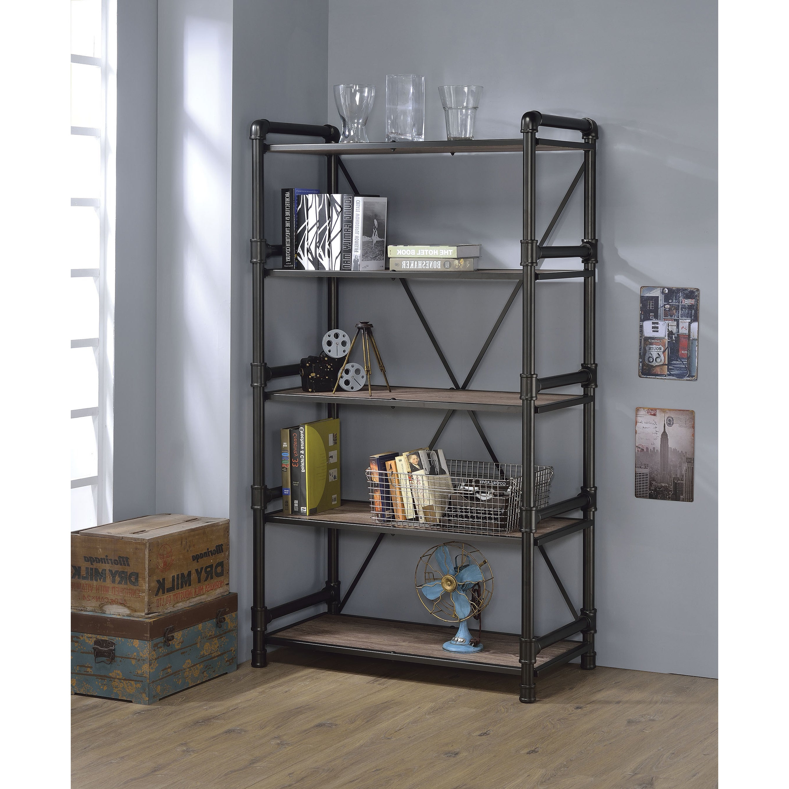 Most Current Caitlyn Etagere Bookcases Throughout Caitlin Rustic Oak And Black Metal Bookshelf (View 10 of 20)
