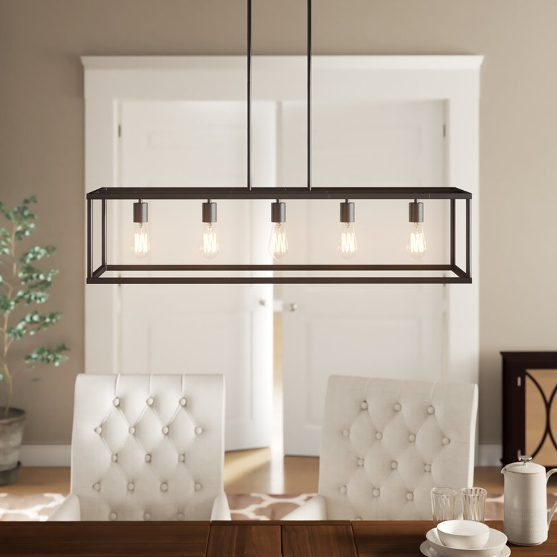 Most Current Cassie 5 Light Kitchen Island Linear Pendant Throughout Freemont 5 Light Kitchen Island Linear Chandeliers (View 11 of 25)