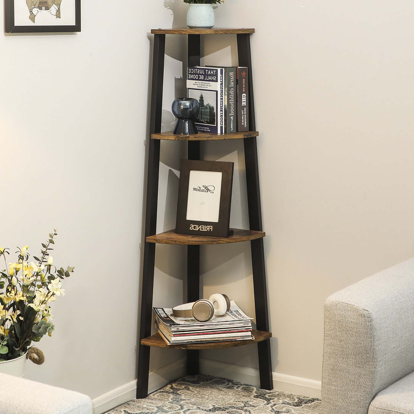 Most Current Drumm Corner Bookcase Inside Thelen Corner Bookcases (View 4 of 20)