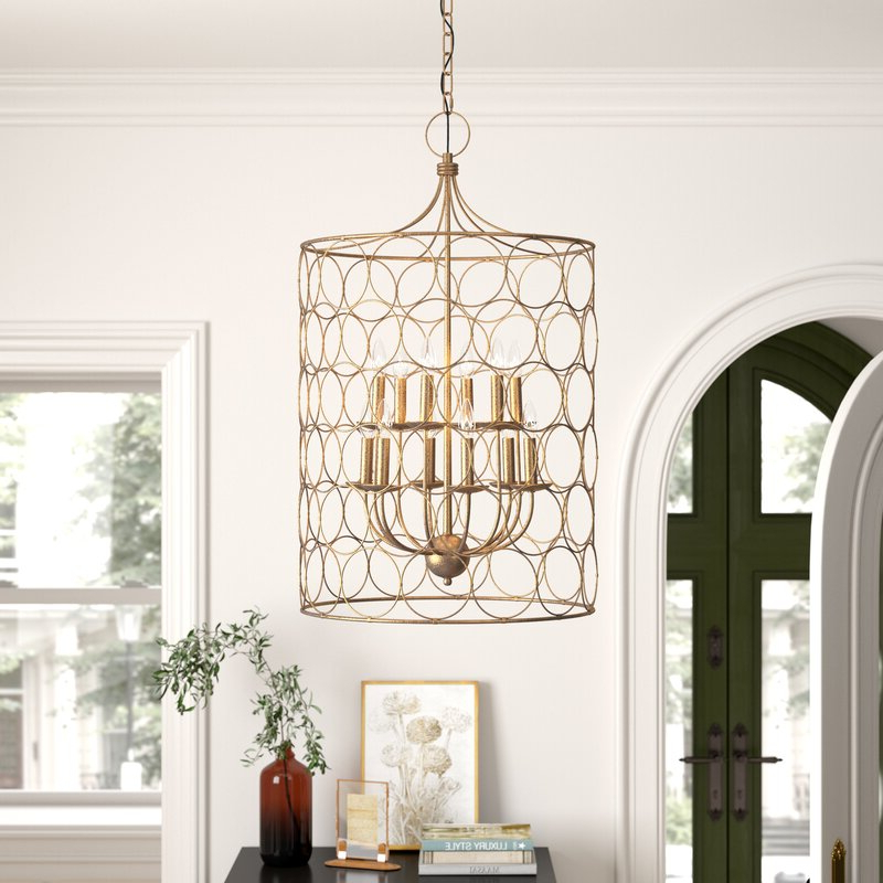 Most Current Flores 12 Light Lantern Cylinder Pendant With Regard To Taya 4 Light Lantern Square Pendants (View 22 of 25)