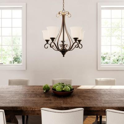 Most Current Freemont 5 Light Kitchen Island Linear Chandeliers With Regard To Hampton Bay – Chandeliers – Lighting – The Home Depot (View 24 of 25)