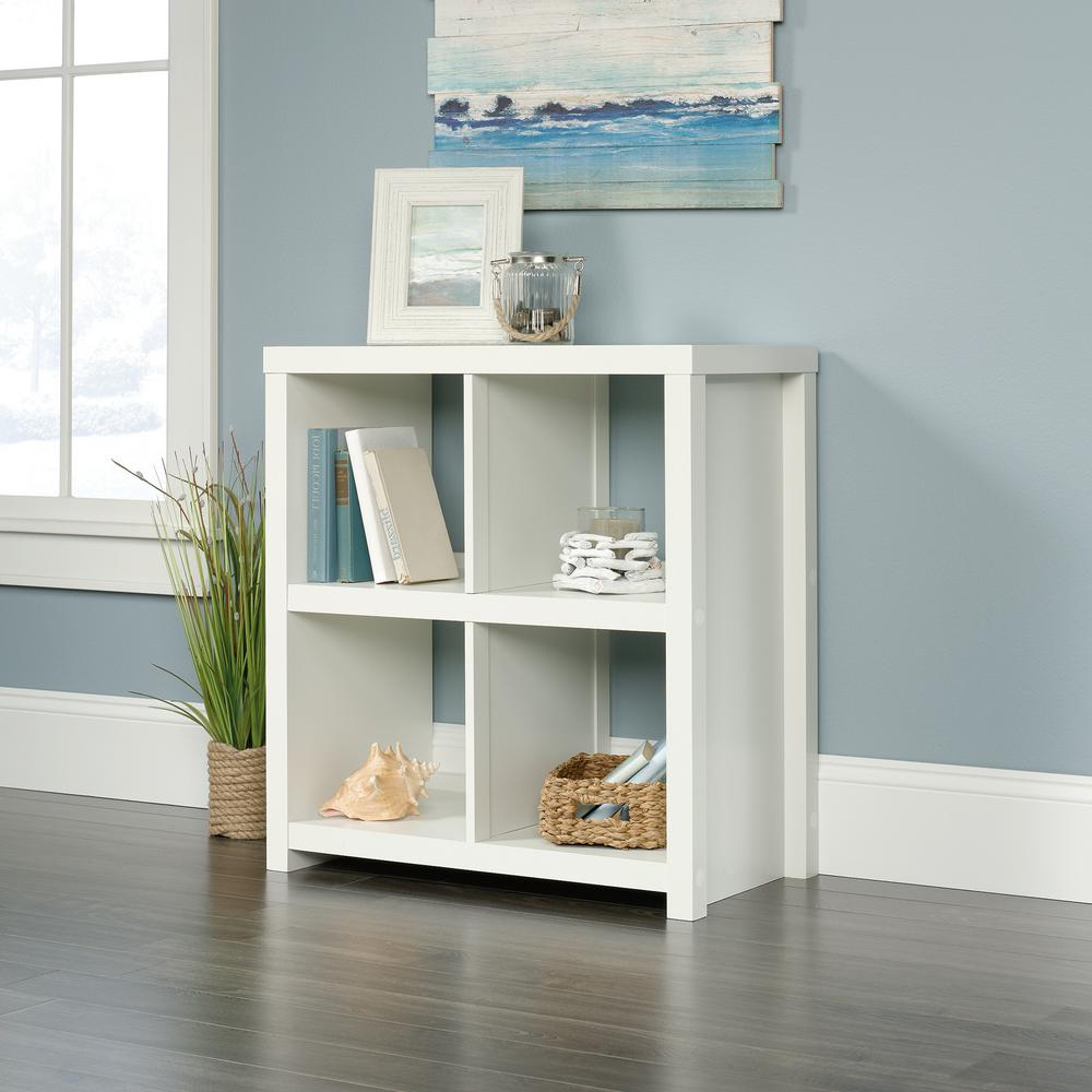 Most Current Homevisions Soft White 4 Cube Bookcase 425048 – The Home Depot With Salina Cube Bookcases (View 20 of 20)