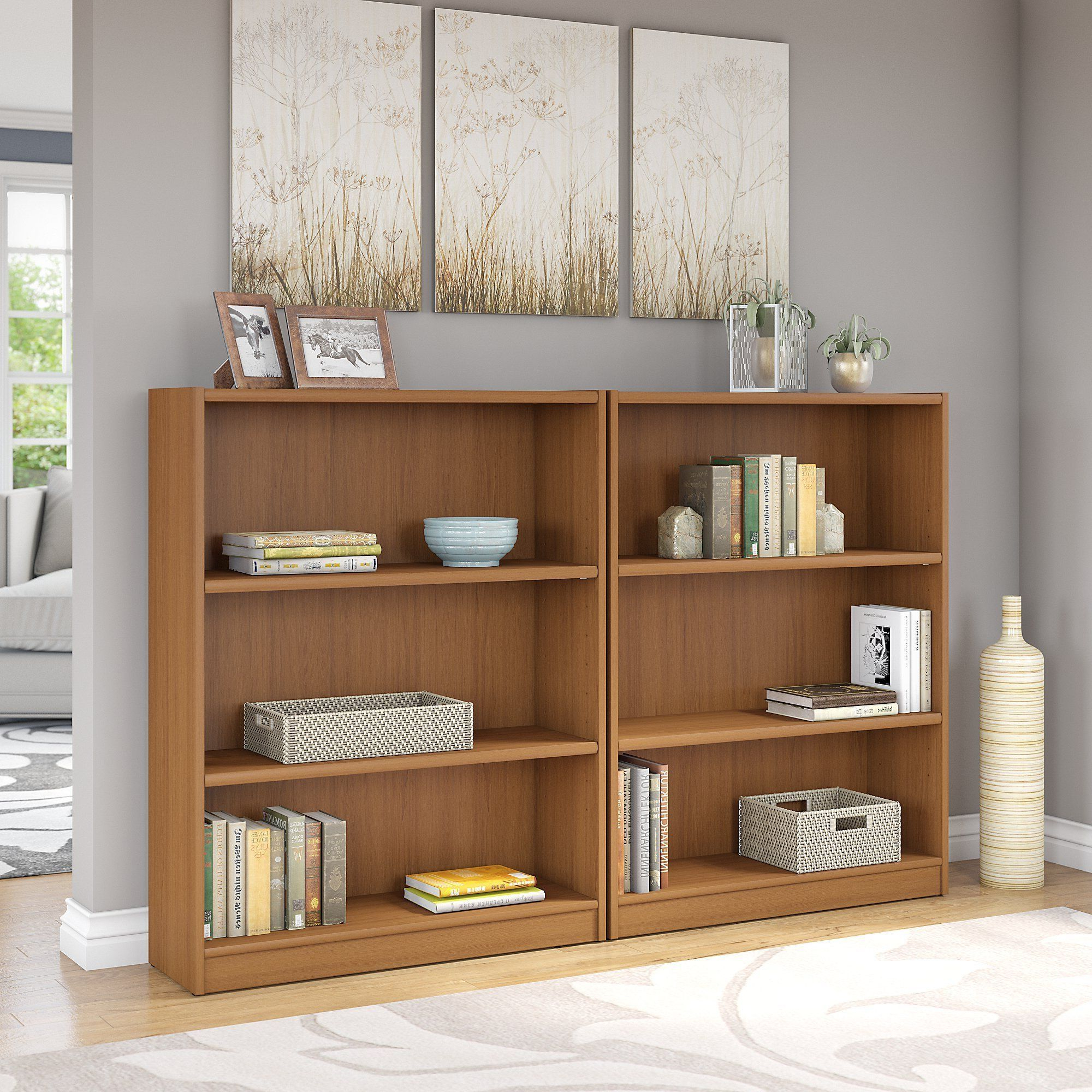 Most Current Kirkbride Standard Bookcases With Regard To Porch & Den Colony Royal Oak 3 Shelf Bookcase (set Of (View 13 of 20)