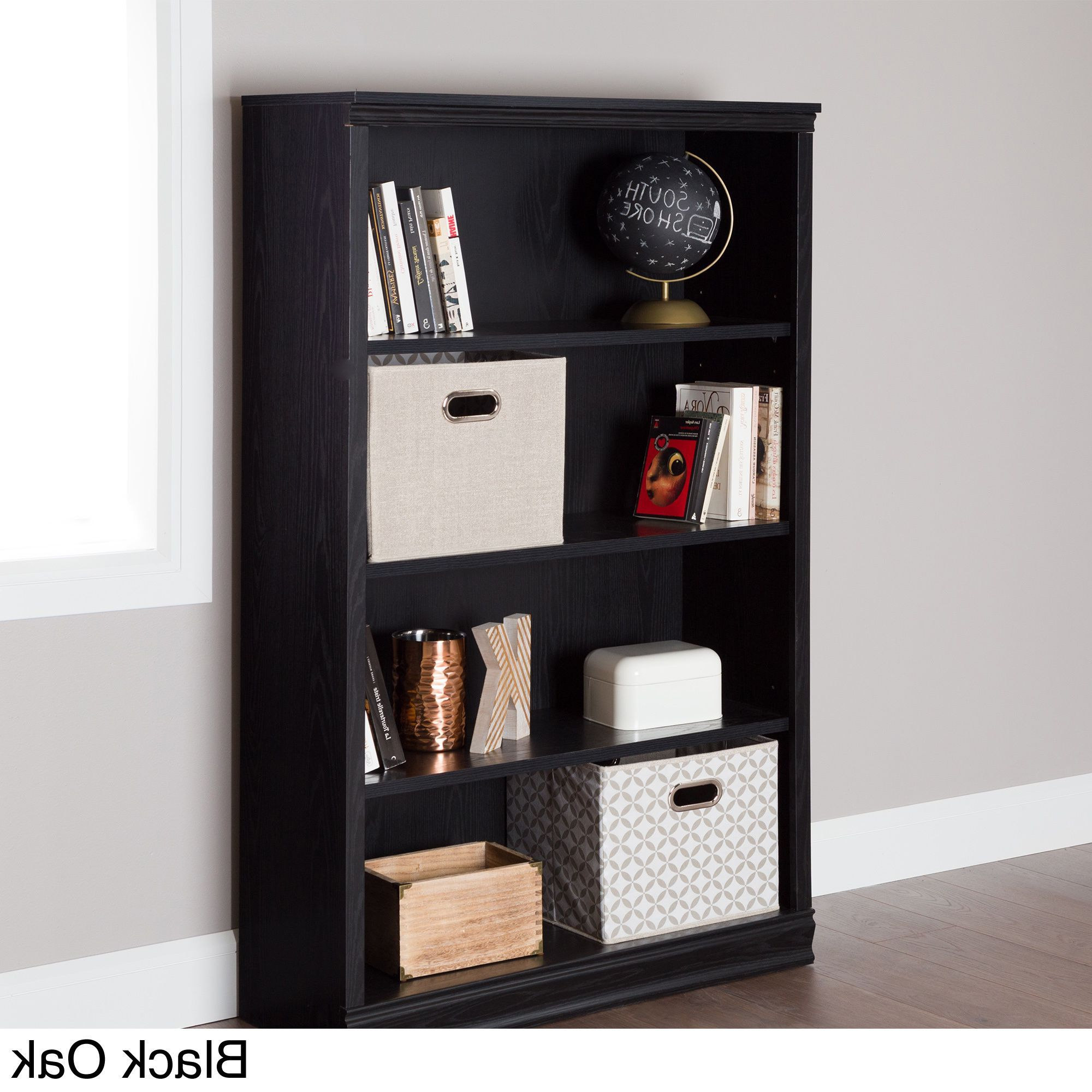 Most Current Morrell Standard Bookcases For South Shore Morgan 4 Shelf Bookcase (Black Finish – Black (View 11 of 20)