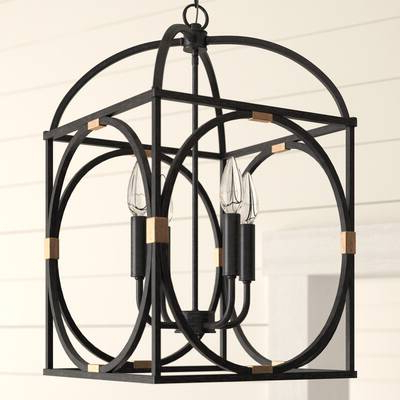 Most Current Neville 6 Light Shaded Chandelier Pertaining To Taya 4 Light Lantern Square Pendants (View 2 of 25)