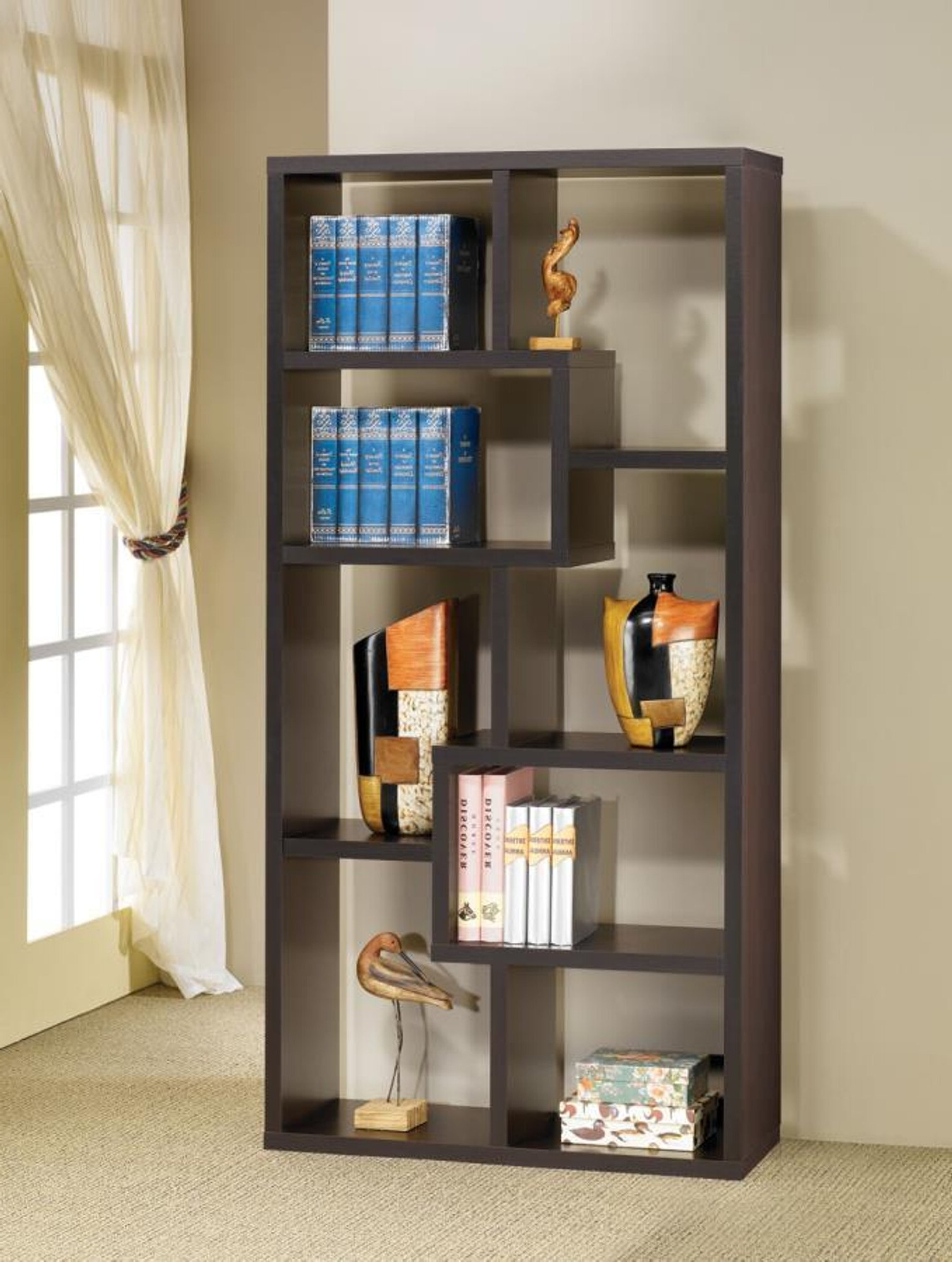Most Popular Ansley Geometric Bookcase Pertaining To Ansley Geometric Bookcases (View 11 of 20)