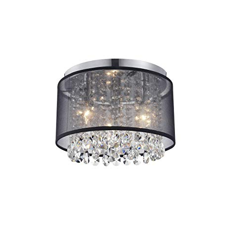 Most Popular Clea 3 Light Crystal Chandeliers Regarding Black Mini Chandeliers Crystal Drum Gauze Ceiling Light Fixture 3 Light For Bedroom (View 19 of 25)