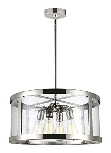 """Most Popular Dailey 4 Light Drum Chandeliers Pertaining To Feiss F3199/4Pn Harrow Glass Multi Light Drum Pendant, Chrome, 4 Light  (20""""dia X 10""""h) 240Watts (View 17 of 25)"""