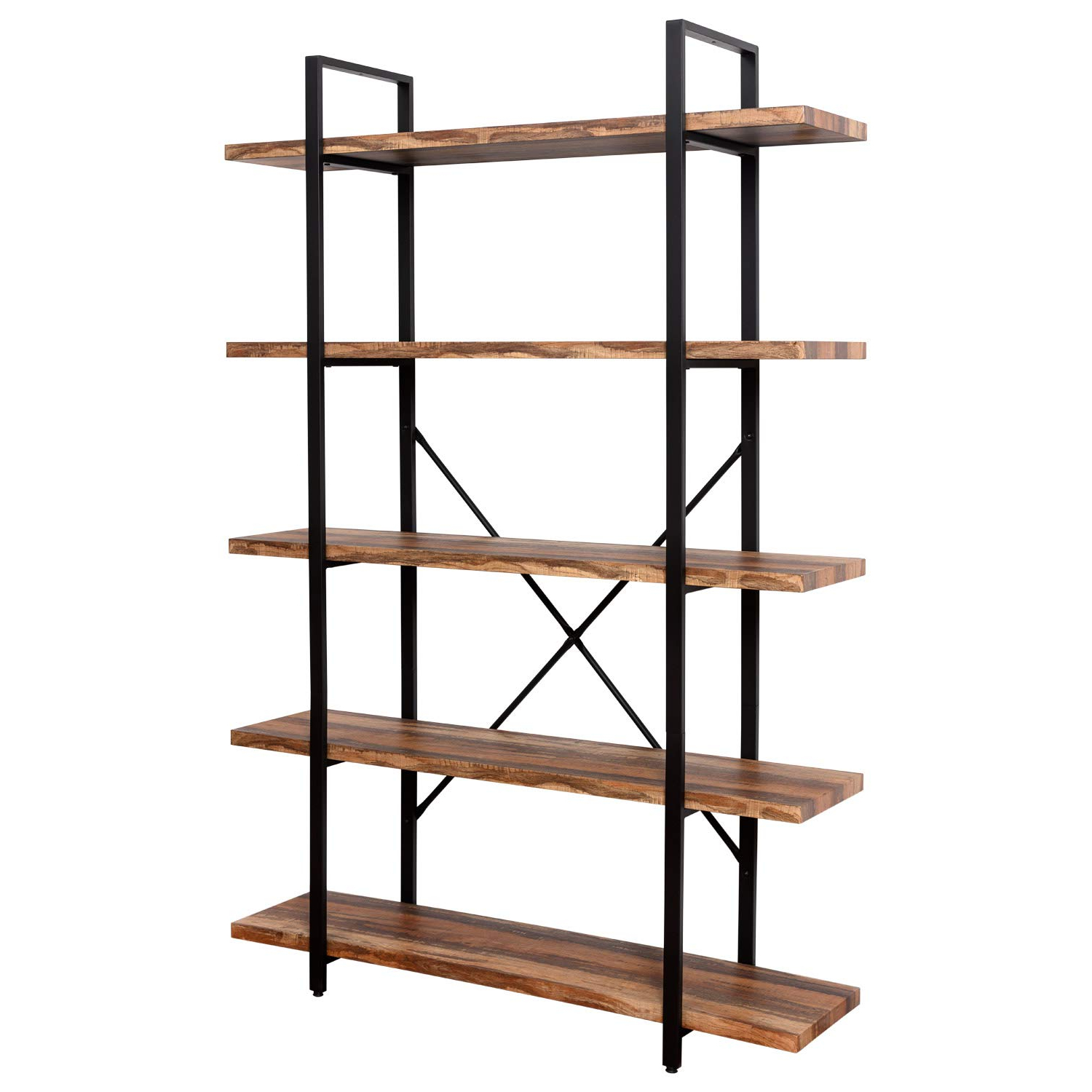 Most Popular Ironck Bookshelf And Bookcase 5 Tier, 130Lbs/shelf Load Capacity,  Industrial Bookshelves Home Office Furniture, Wood And Metal Frame … Inside Rech 4 Tier Etagere Bookcases (View 9 of 20)