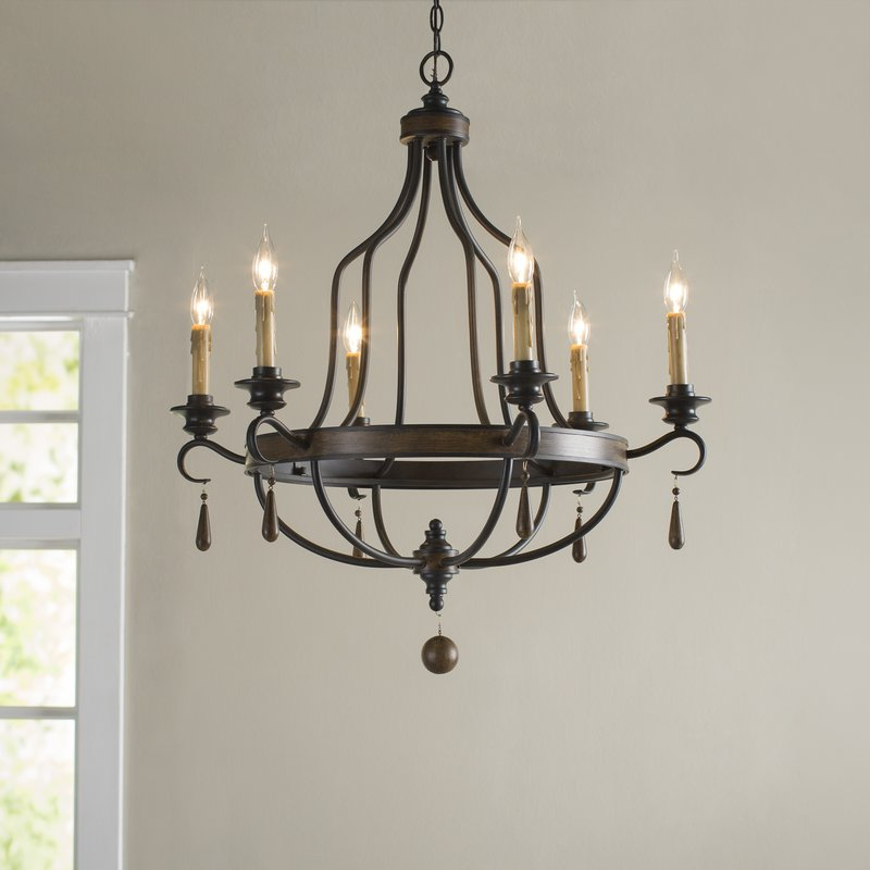 Most Popular Jamesburg 6 Light Candle Style Chandelier Within Hamza 6 Light Candle Style Chandeliers (View 17 of 25)