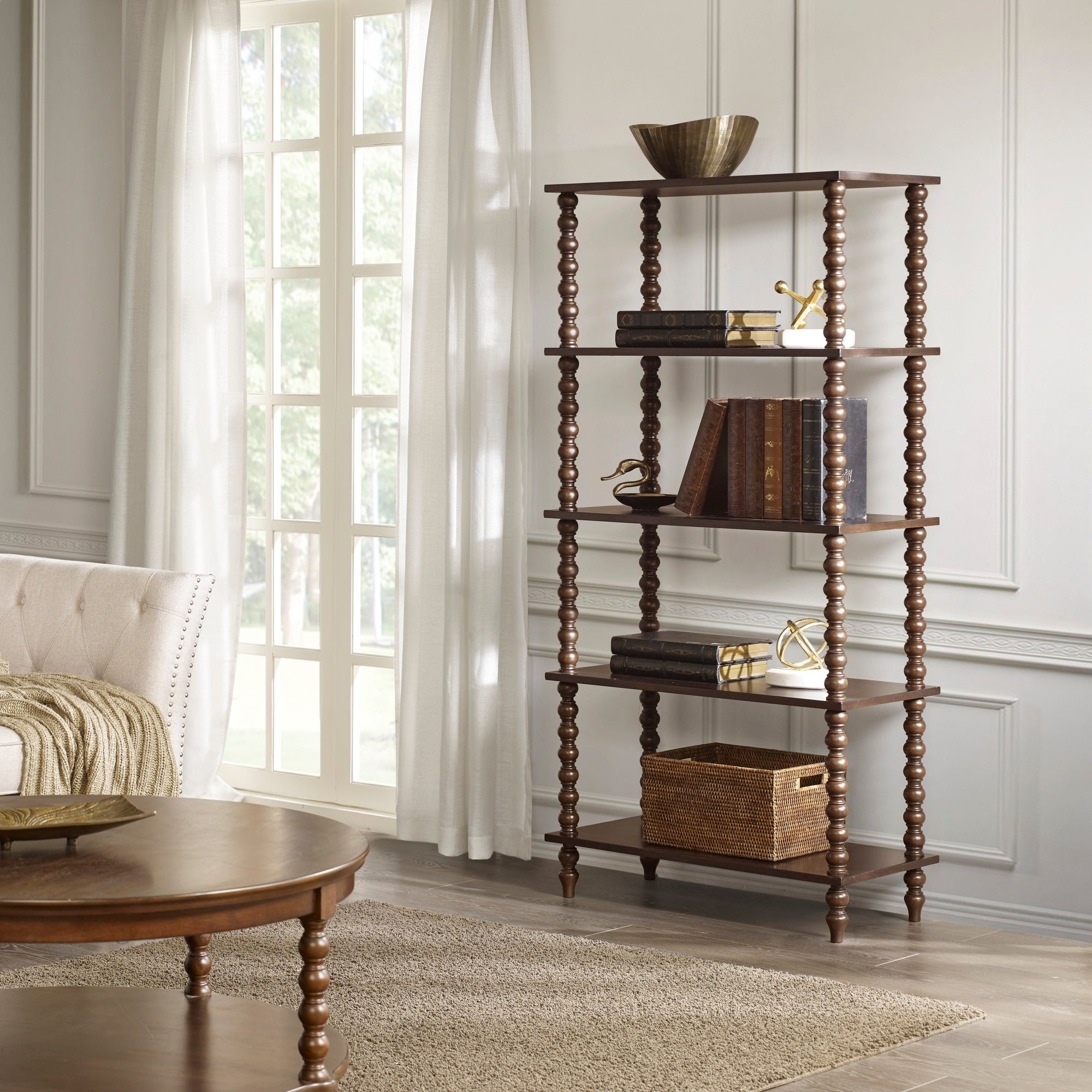 """Most Popular Madison Park Signature Beckett Morocco Brown Shelf – 32""""w X 15""""d X (View 8 of 20)"""