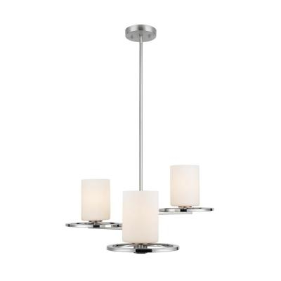 Most Popular Nickel – Chandeliers – Lighting – The Home Depot For Dirksen 3 Light Single Cylinder Chandeliers (View 11 of 25)