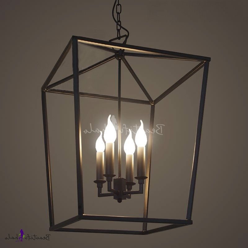 Most Popular Odie 4 Light Lantern Square Pendants Pertaining To Matte Black 4 Light Square Open Cage Pendant – Beautifulhalo (View 18 of 25)