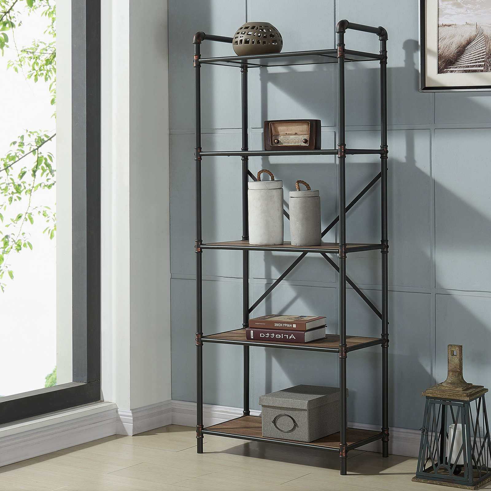 Most Popular Poynor Etagere Bookcases With Regard To Nspire Tiered Metal Pipe Etagere (View 7 of 20)