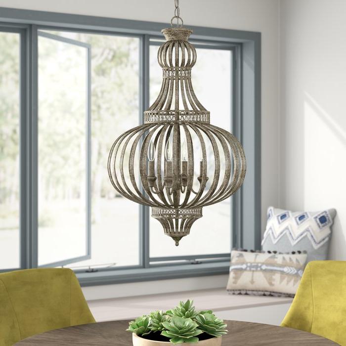 Most Popular Rhea 4 Light Globe Chandelier In Morganti 4 Light Chandeliers (View 12 of 25)