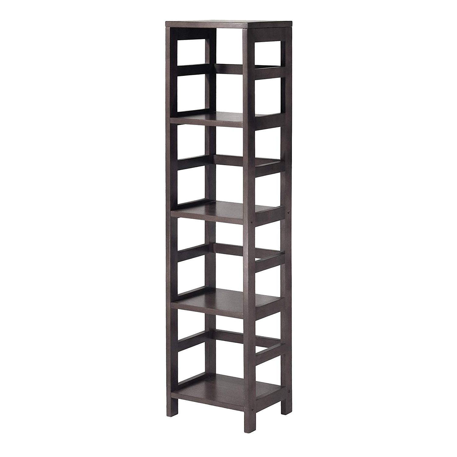 Most Popular Winsome Wood 92514 Leo Model Name Shelving, Small, Espresso With Narrow Profile Standard Cube Bookcases (View 11 of 20)