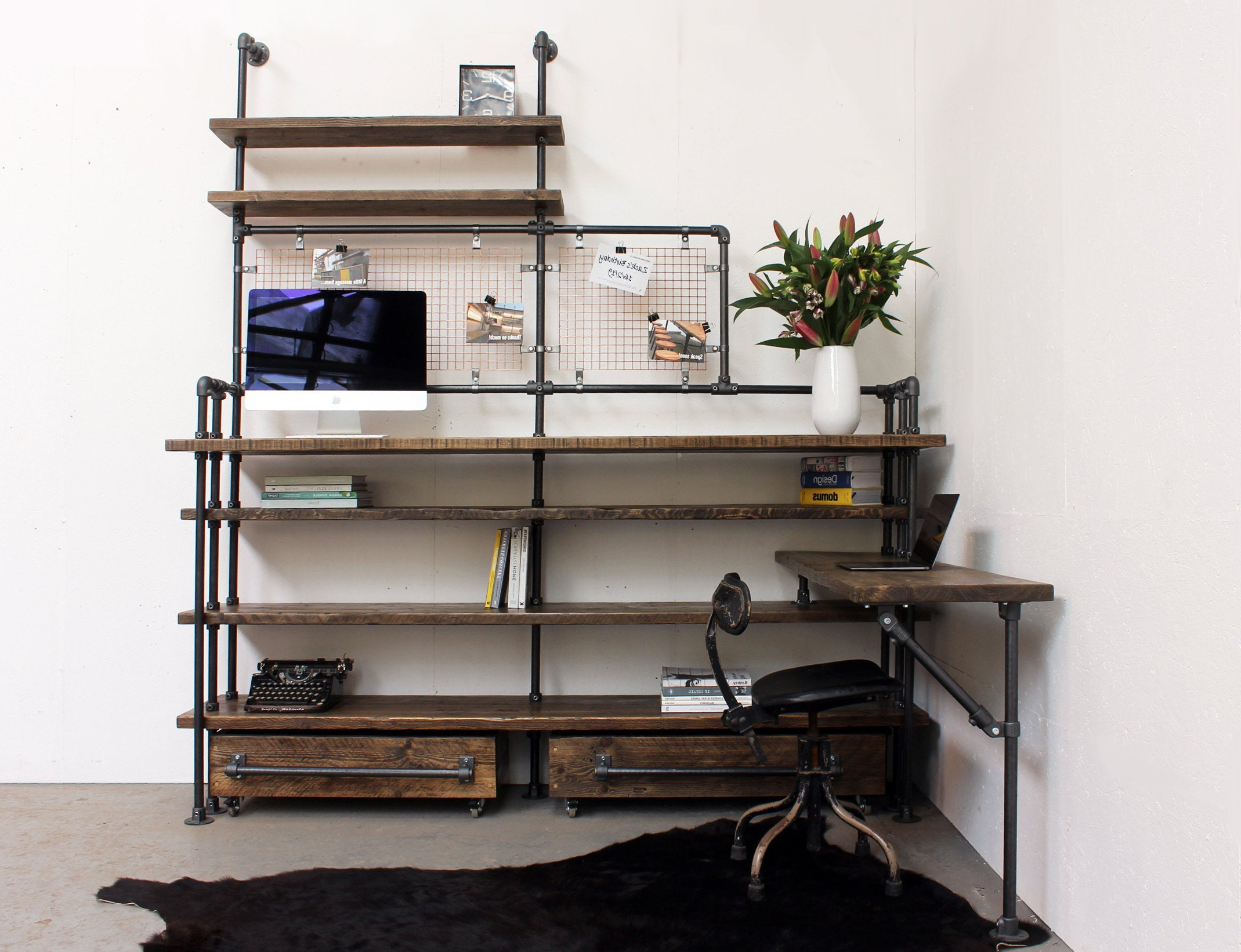Most Popular Zack Standard Bookcases Regarding Zack Reclaimed Scaffolding Board Double Desk And Shelf Unit – Fixed Sitting  Desk And Adjustable Height Standing Desk With Roll Out Drawers (View 9 of 20)