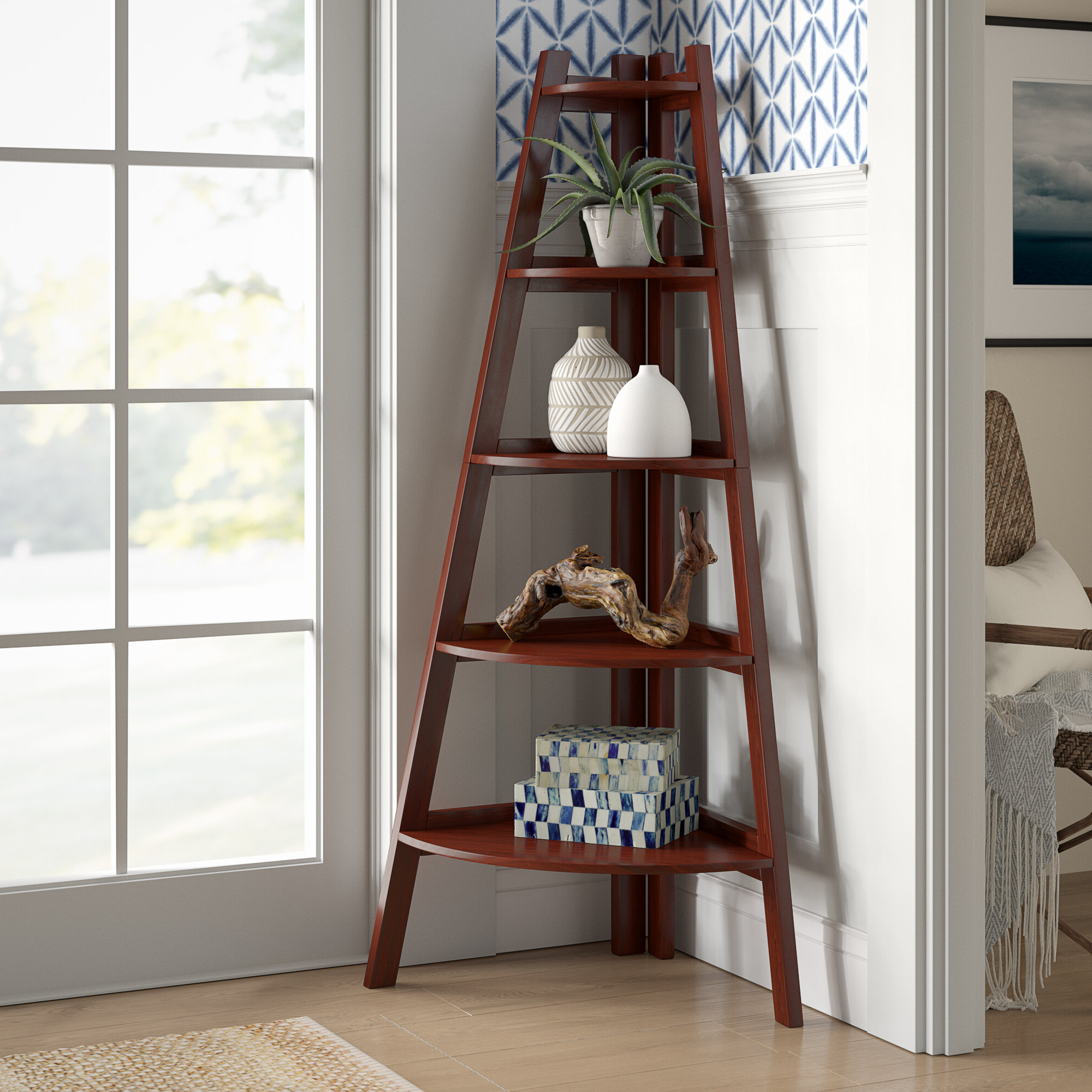 Most Recent Beachcrest Home Pierview Corner Bookcase & Reviews (View 13 of 20)