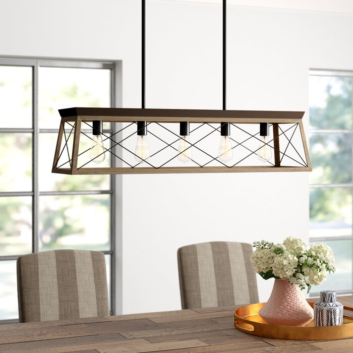 Most Recent Delon 5 Light Kitchen Island Linear Pendant With Freemont 5 Light Kitchen Island Linear Chandeliers (View 17 of 25)