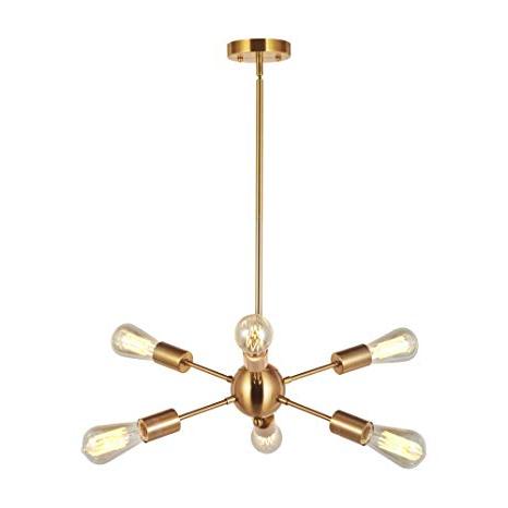 Most Recent Modern Sputnik Chandelier Lighting 6 Lights Italian Designed Pendant Lighting Mid Century Ceiling Light Fixture Brushed Brassvinluz Intended For Bautista 5 Light Sputnik Chandeliers (View 20 of 25)