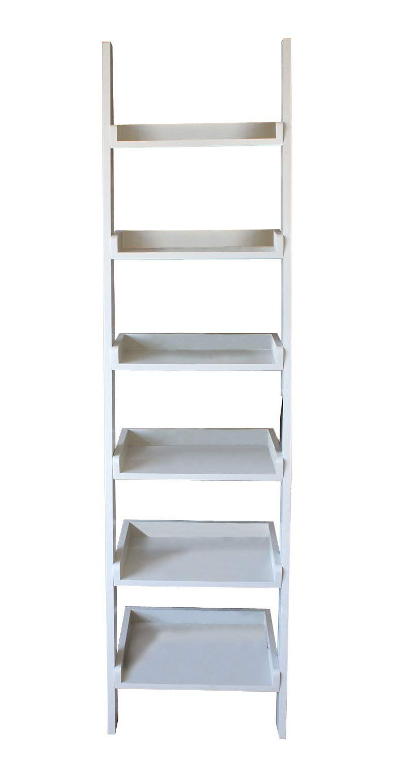 Most Recent Narrow Ladder Bookcases Intended For Casamore Gloucester Wooden Tall Narrow Ladder Shelf 6 Shelving Unit  Bookcase – Pearl White Painted (View 12 of 20)