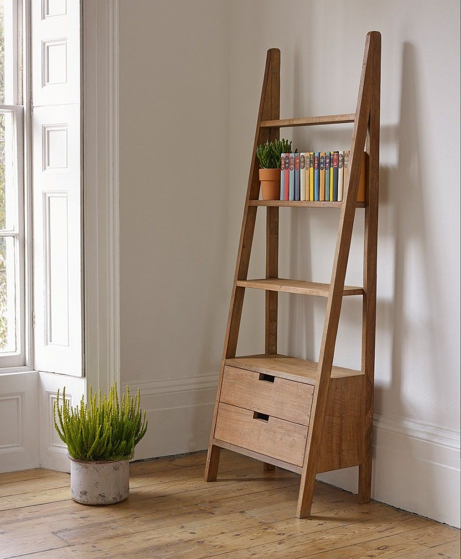 Most Recent Natural Polished Teak Wood Rustic Wall Ladder Bookshelf Intended For Wide Ladder Bookcases (View 18 of 20)