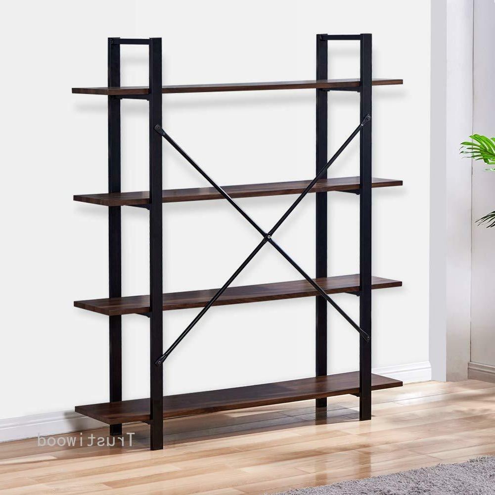 Most Recently Released 4 Tier Rustic Bookcase Industrial Bookshelf Grain Wood And Metal Storage  Shelves With Rech 4 Tier Etagere Bookcases (View 11 of 20)