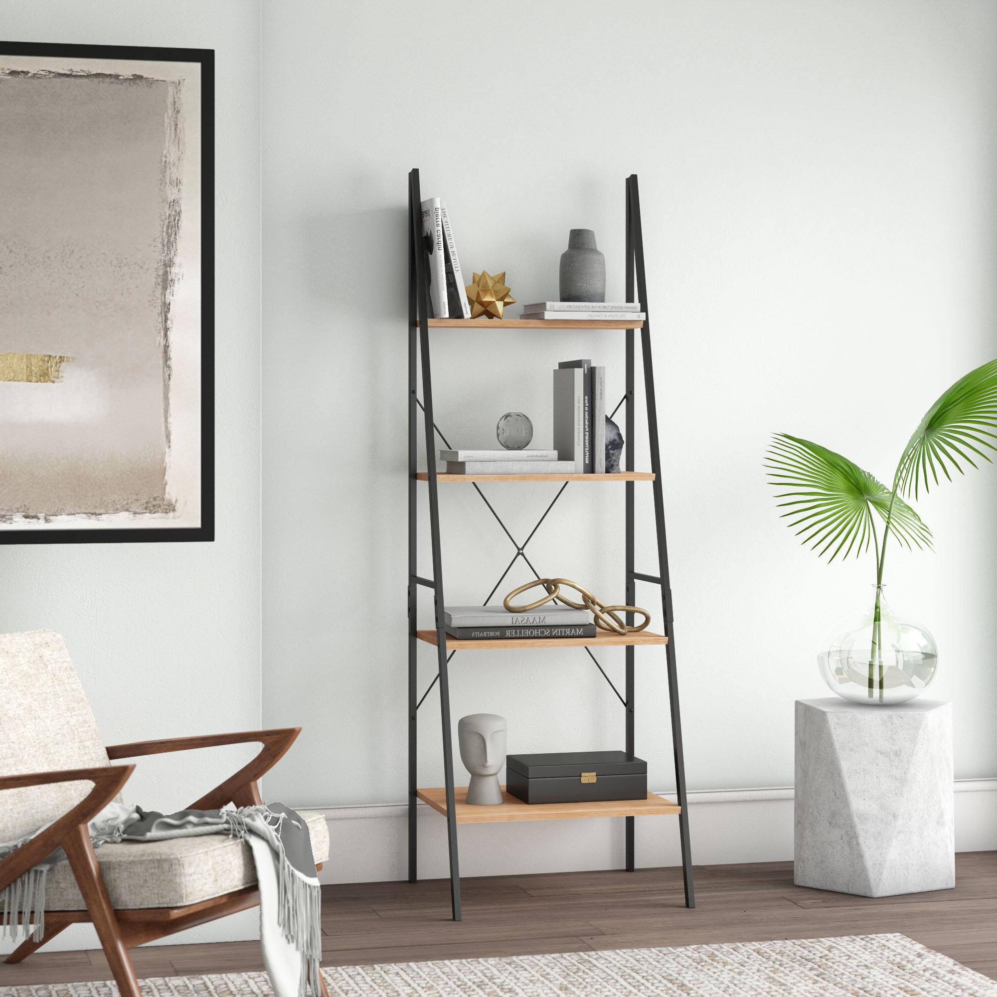 Most Recently Released Almanzar Ladder Bookcase Regarding Moskowitz Ladder Bookcases (View 12 of 20)
