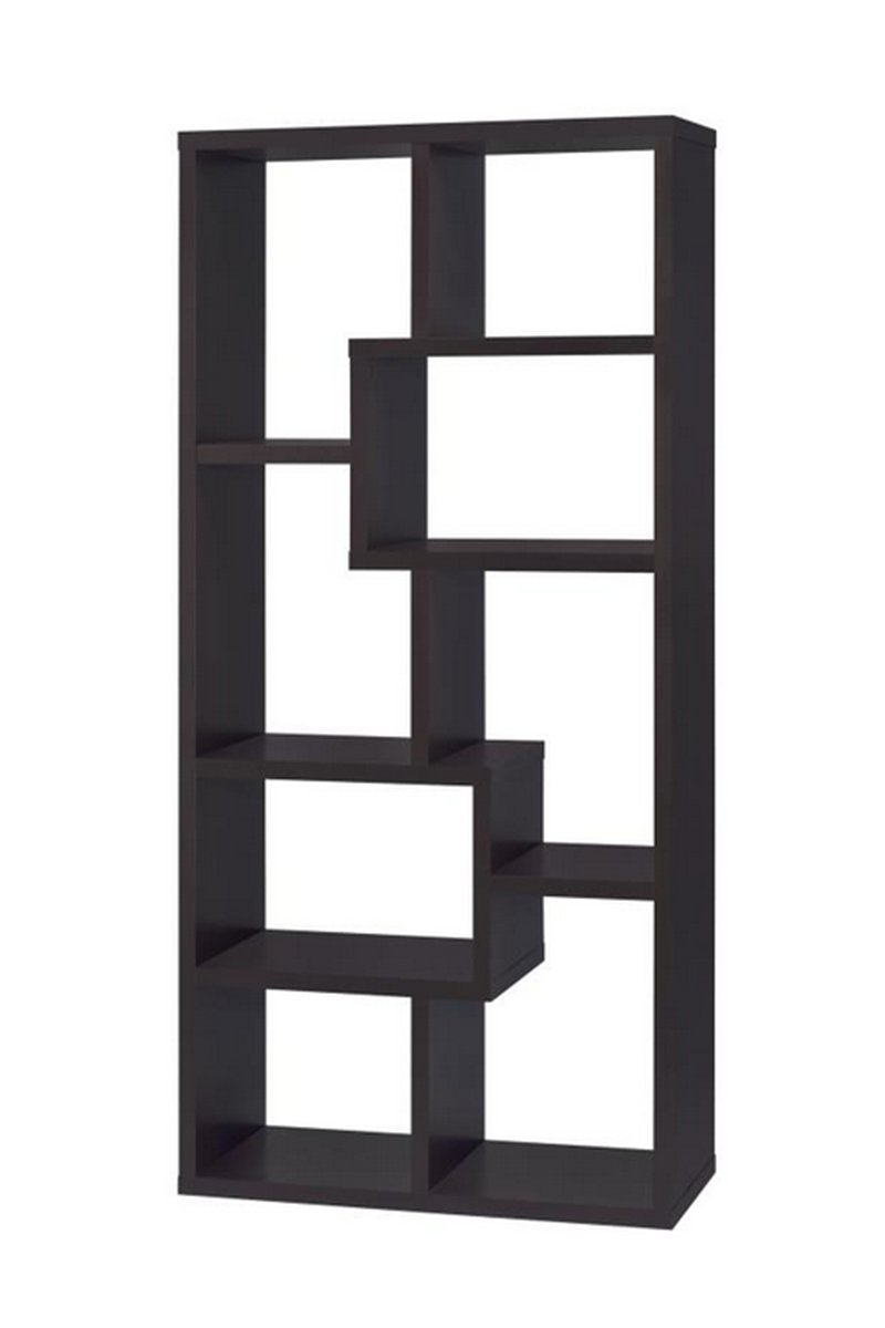 Most Recently Released Asymmetrical Cube 8 Shelf Bookcase Cappuccino For Swarey Geometric Bookcases (View 17 of 20)