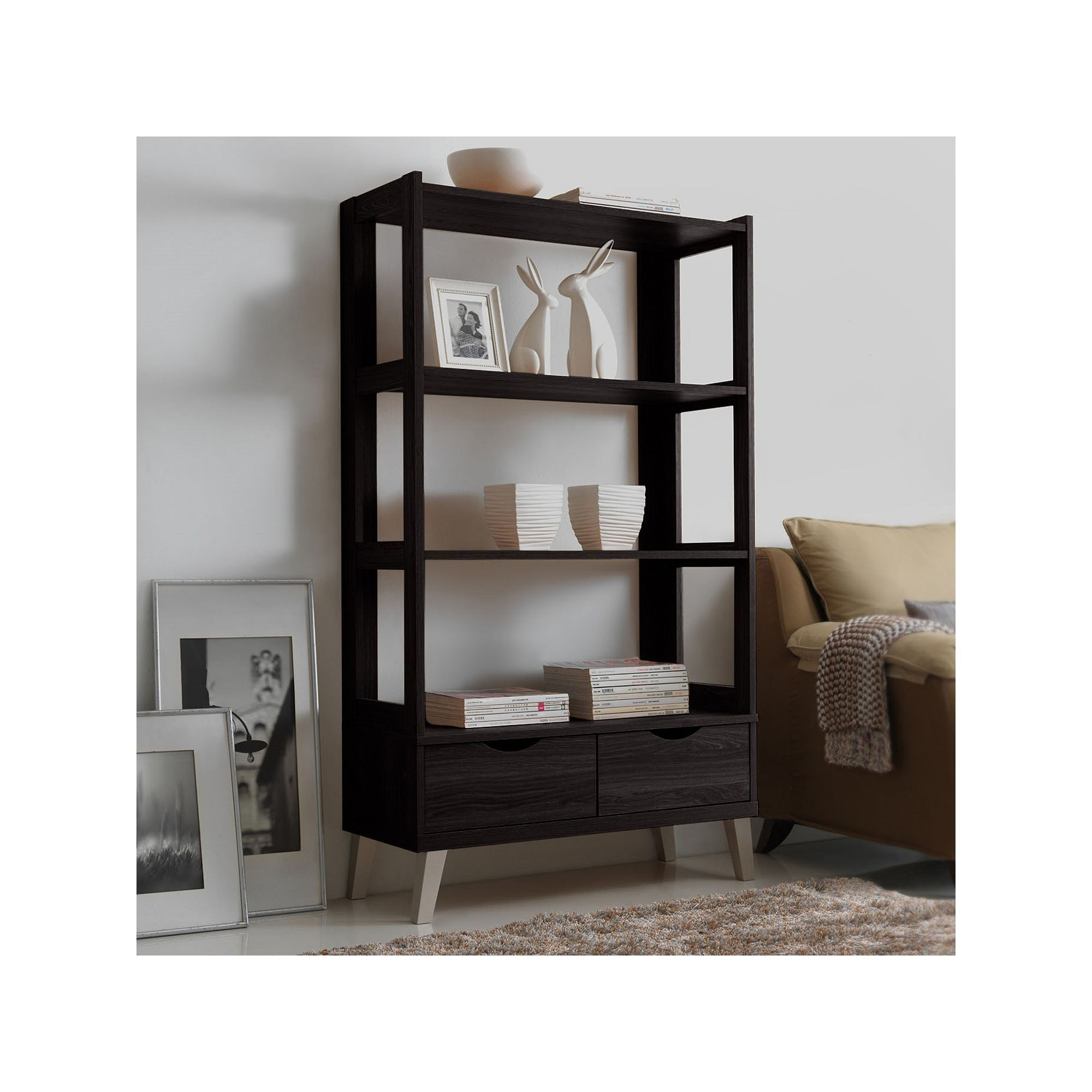 Most Recently Released Baxton Studio 2 Drawer Kalien Wood Leaning Bookcase With Bowman Etagere Bookcases (View 16 of 20)