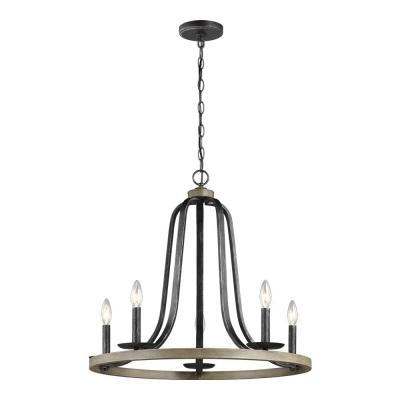 Most Recently Released Brown – Chandeliers – Lighting – The Home Depot With Buster 5 Light Drum Chandeliers (View 11 of 25)