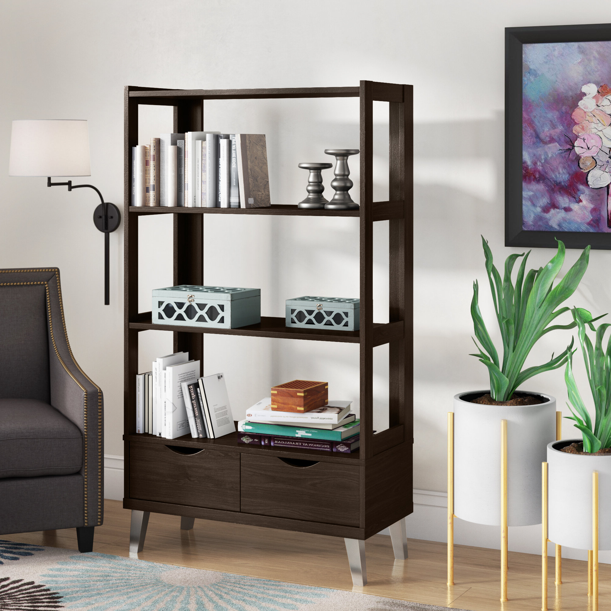 Most Recently Released Chrysanthos Etagere Bookcases With Spicer Etagere Bookcase (View 9 of 20)