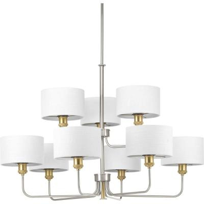 Most Recently Released Crofoot 5 Light Shaded Chandeliers Inside Progress Lighting Inspire Collection 5 Light Brushed Nickel (View 19 of 25)