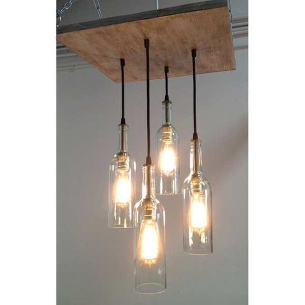 Most Recently Released Destrey 3 Light Lantern Square/rectangle Pendants Pertaining To , Suspended Mount 4 Clear Wine Bottle Chandelier (View 21 of 25)