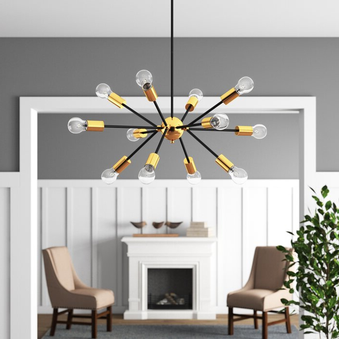 Most Recently Released Dorcia 12 Light Sputnik Chandelier In Asher 12 Light Sputnik Chandeliers (View 12 of 25)