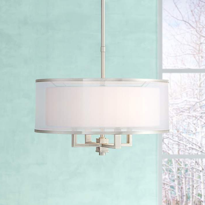 "Most Recently Released Jill 4 Light Drum Chandeliers In Possini Euro Glover 21"" Wide Brushed Nickel 4 Light Pendant (View 20 of 25)"
