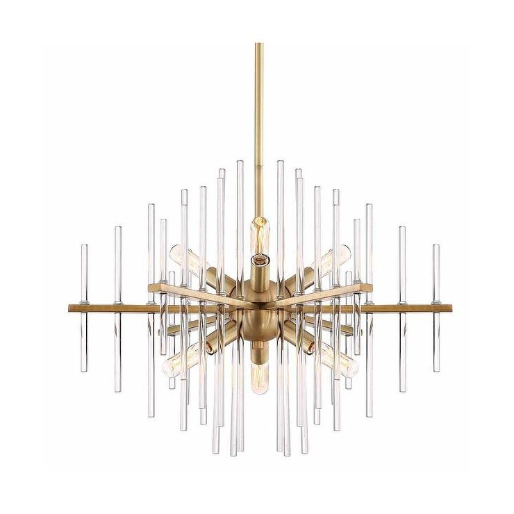 Most Recently Released Lynn 6 Light Geometric Chandeliers Throughout Reeve Brass Glass Rods Sputnik 6 Light Chandelier (View 17 of 25)