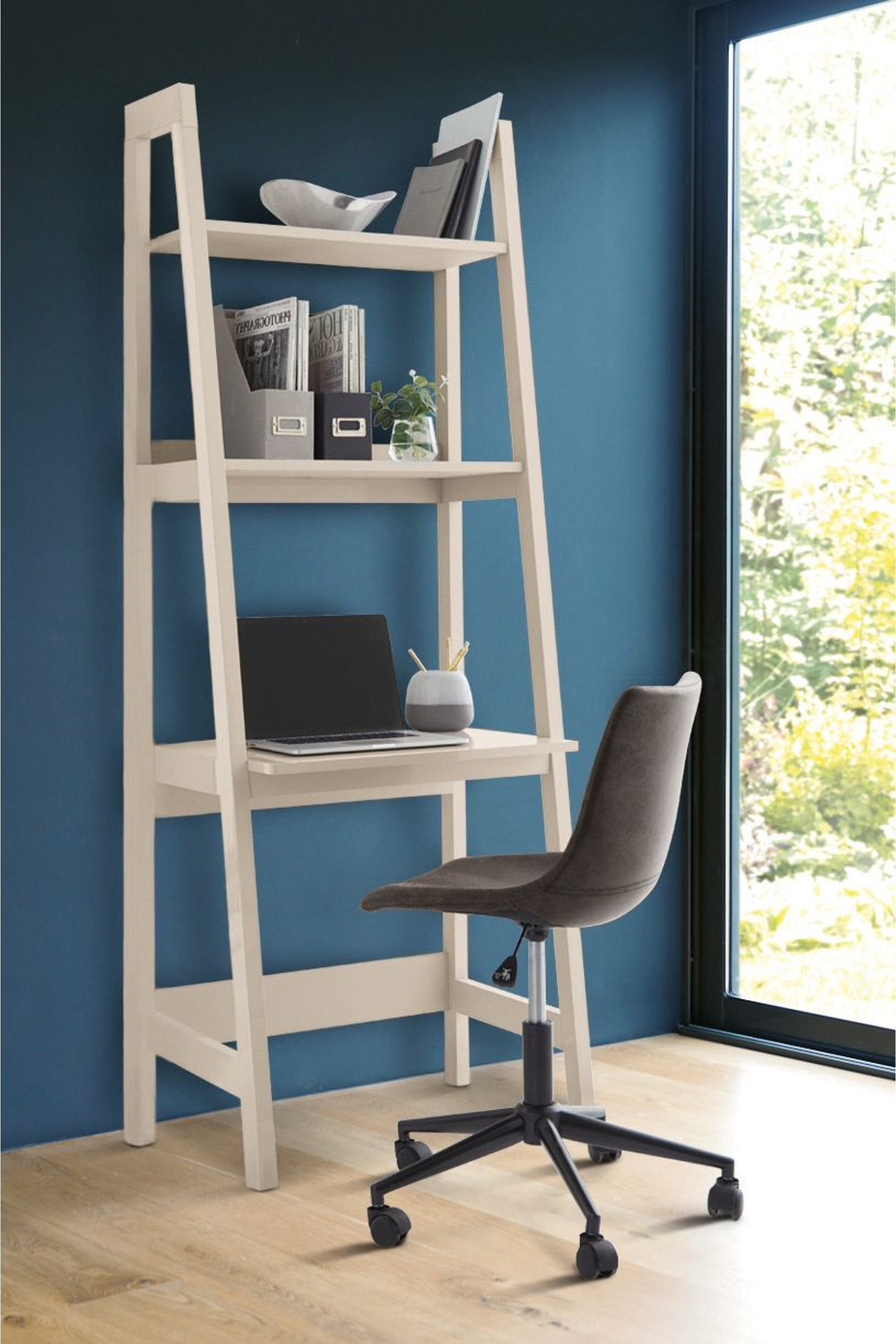 Most Recently Released Riddleville Ladder Bookcases Within Next Mode Gloss Ladder Desk – Grey (View 8 of 20)