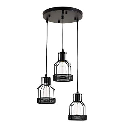 Most Up To Date 3 Lights Pendant Light, Industrial Metal Lantern Pendant Light, Simplicity  Modern Farmhouse Chandelier Hanging Ceiling Light Fixture For Kitchen Pertaining To Kenna 5 Light Empire Chandeliers (View 18 of 25)