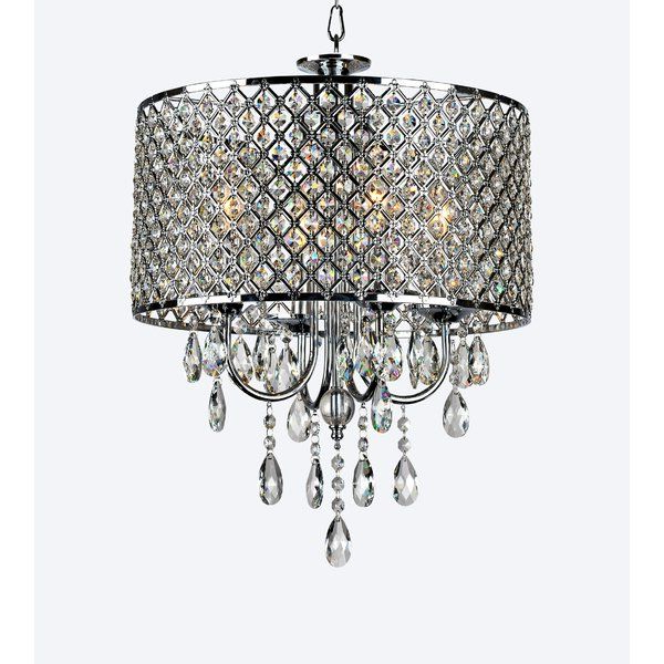 Most Up To Date Aurore 4 Light Crystal Chandelier In  (View 21 of 25)