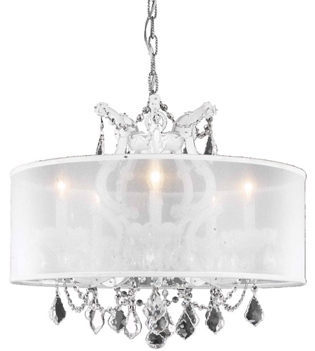 Most Up To Date Maria Theresa 6 Light 23 Inch White Dining Chandelier Ceiling Light In Clear, Swarovski Strass, Silver Shade Throughout Thresa 5 Light Shaded Chandeliers (View 13 of 25)