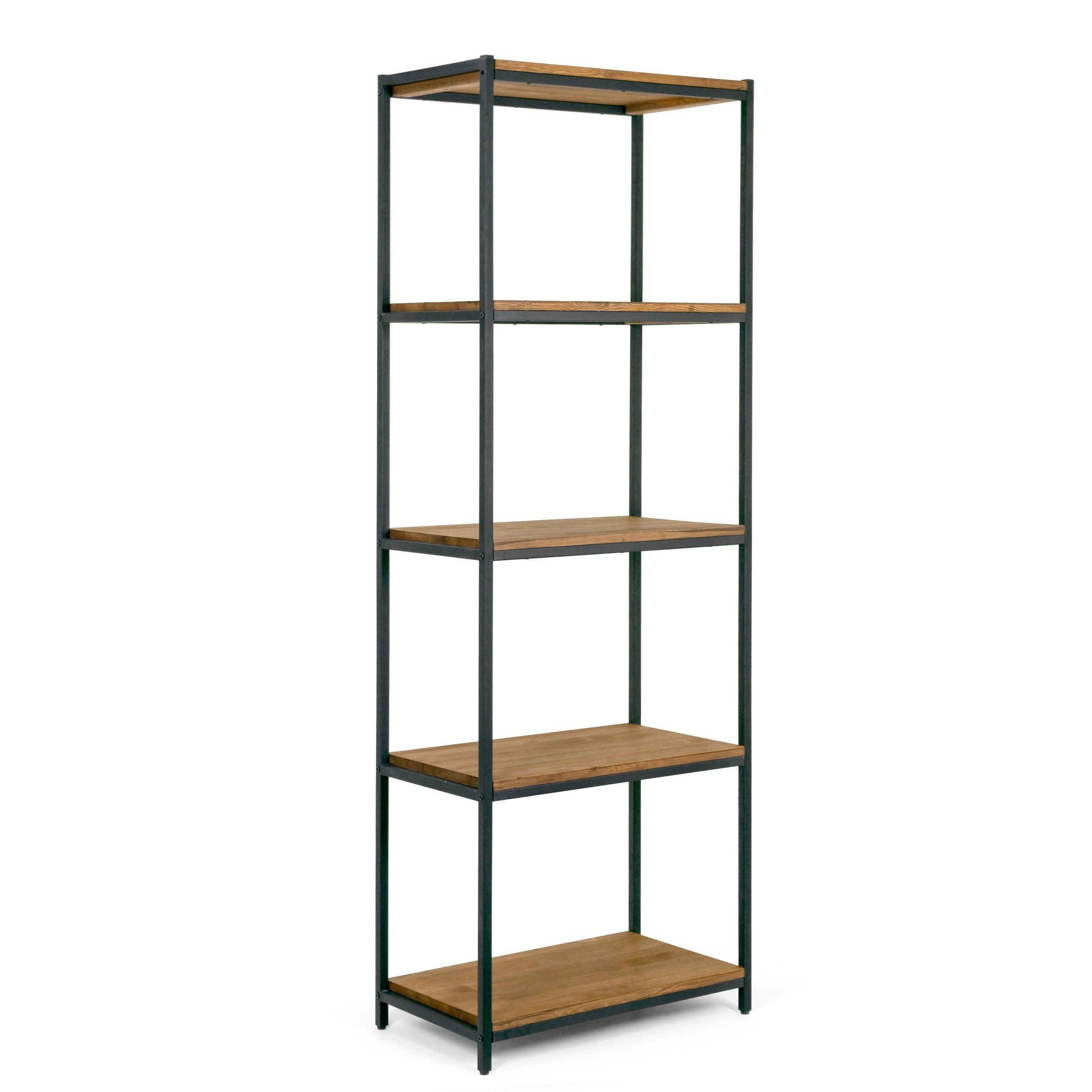 Most Up To Date Moriann Etagere Bookcases In Ailis 75 Brown Pine Wood Shelf Etagere Bookcase Media Center (View 14 of 20)