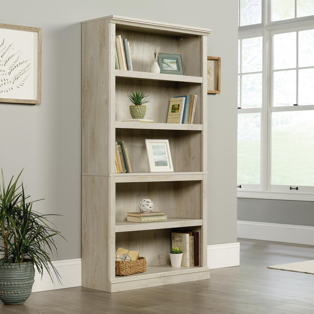 Most Up To Date Sauder Chalked Chestnut 5 Shelf Bookcase In (View 12 of 20)