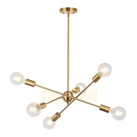 Most Up To Date Silvia 6 Light Sputnik Chandeliers Throughout Bonlicht Modern Sputnik Chandelier Lighting 6 Lights Brushed Brass  Chandelier Mid Century Pendant Lighting Gold Ceiling Light Fixture For  Hallway Bar (View 14 of 25)