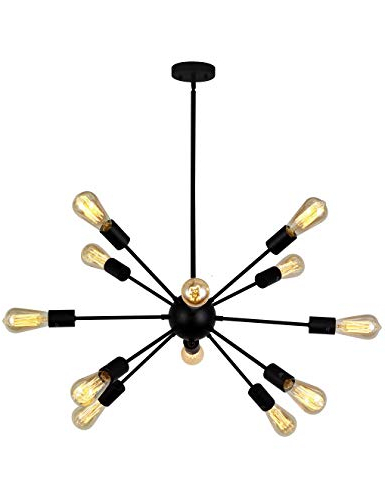 Nelly 12 Light Sputnik Chandeliers Intended For Most Recent Vinluz 12 Light Contemporary Sputnik Chandelier Black Mid Century Modern  Ceiling Light Fixtures Hanging Rustic Industrial Pendant Lighting For  Kitchen (Gallery 25 of 25)