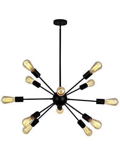 Nelly 12 Light Sputnik Chandeliers Intended For Most Recent Vinluz 12 Light Contemporary Sputnik Chandelier Black Mid Century Modern Ceiling Light Fixtures Hanging Rustic Industrial Pendant Lighting For Kitchen (Gallery 25 of 25)