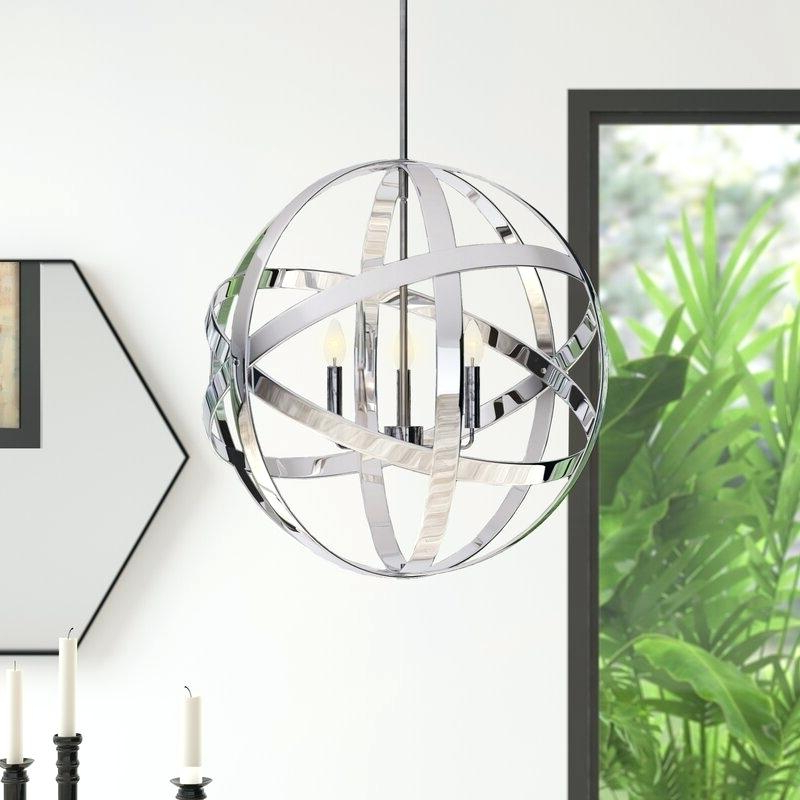 Newest 3 Light Globe Chandelier Antique Bronze Wrought Iron Cage In La Barge 3 Light Globe Chandeliers (Gallery 9 of 25)